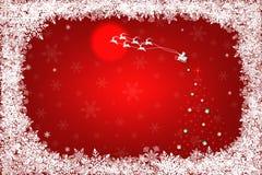 Lyckligt nytt år och glad jul, Santa Claus flyg med renen på röd nattbakgrund Arkivbilder