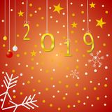 Lyckligt nytt år 2019 och hälsningskort royaltyfri illustrationer