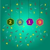 Lyckligt nytt år 2019 och hälsningskort vektor illustrationer