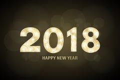 Lyckligt nytt år 2018 och jul År av hunden Gulddiagram med en modell för showen Blinkande lampor Diagram för presenta royaltyfri illustrationer