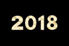 Lyckligt nytt år 2018 och jul År av hunden Gulddiagram med en modell för showen Blinkande lampor Diagram för presenta stock illustrationer