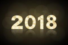 Lyckligt nytt år 2018 och jul År av hunden Gulddiagram med en modell för showen Blinkande lampor Spegelreflexion av en lantbrukar stock illustrationer