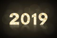 Lyckligt nytt år 2019 och jul Gulddiagram med en modell för showen Blinkande lampor Spegelreflexion av en lantbrukarhemingång Dia royaltyfri illustrationer