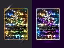 Lyckligt nytt år och ljus uppsättning för glad jul Arkivbilder