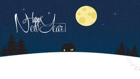Lyckligt nytt år och snöig tapet för glad jul Royaltyfria Bilder