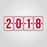 Lyckligt nytt år 2018 och vektor för funktionskort för glad jul röd Arkivfoto