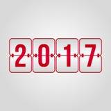 Lyckligt nytt år 2017 och vektor för funktionskort för glad jul sy röd Royaltyfri Foto