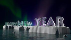 Lyckligt nytt år på is royaltyfri illustrationer