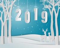 Lyckligt nytt år 2019 på blå bakgrund, pappers- konstdesign med hjortfamiljen royaltyfria foton