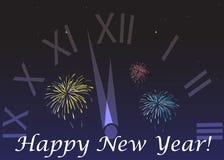 Lyckligt nytt år på en mörk bakgrund med klockan Royaltyfri Bild