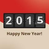 Lyckligt nytt år 2015 på flipklockan royaltyfri illustrationer