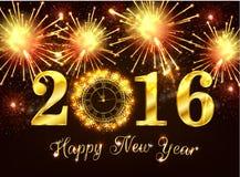 Lyckligt nytt år 2016 på fyrverkerit Royaltyfria Foton