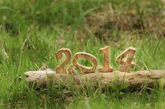 Lyckligt nytt år 2014 på gräs i trädgården Arkivbild
