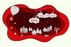 Lyckligt nytt år 2019 på röd bakgrund för pappers- konst stock illustrationer