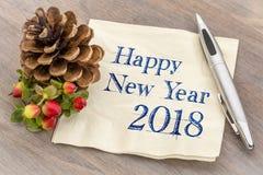 Lyckligt nytt år 2018 på servett arkivfoto