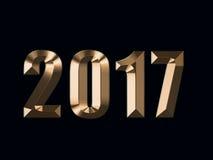 Lyckligt nytt år 2017 på svart bakgrund stock illustrationer