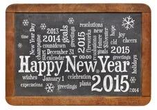 Lyckligt nytt år 2015 på svart tavla Arkivbild