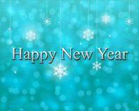 Lyckligt nytt år på turkosbokehbakgrund Stock Illustrationer