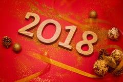 Lyckligt nytt år 2018 Röd bakgrund för ferie royaltyfri fotografi