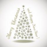 Lyckligt nytt år sammansättningsträd av snöflingor Royaltyfri Fotografi