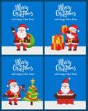Lyckligt nytt år Santa Claus Banners för glad jul royaltyfri illustrationer