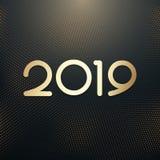 Lyckligt nytt 2019 år Semestra illustrationen av guld- metalliska nummer 2019 och att blänka den rastrerade modellen stock illustrationer