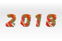 Lyckligt nytt år 2018 Skissa olika färger som bokstäver göras som en klottra Vektorsamlingen av färgrikt skissar isolerade stilso Royaltyfri Fotografi