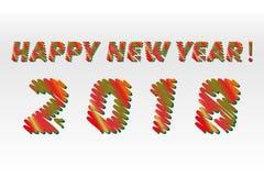 Lyckligt nytt år 2018 Skissa olika färger som bokstäver göras som en klottra Vektorsamlingen av färgrikt skissar isolerade stilso Arkivfoton