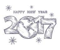 Lyckligt nytt år 2017 skissar jordklotöversiktsteckningen royaltyfri illustrationer