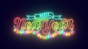 Lyckligt nytt år som märker den 2D animeringen Neonstilbokstäver med band- och garneringfestoonen multicolor magi stock video