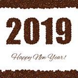 lyckligt nytt år 2019 som skapas från kaffebönor som isoleras på en vit bakgrund royaltyfri illustrationer