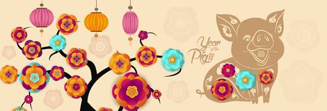 Lyckligt nytt år svin 2019, kinesiska hälsningar för nytt år, år av svinet vektor illustrationer
