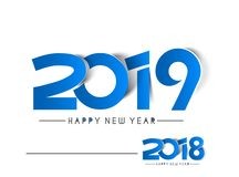 Lyckligt nytt år 2019 & text 2018 skalar av pappers- designsmattrande royaltyfri illustrationer