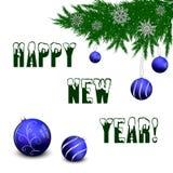 Lyckligt nytt år texten av snön och den prydliga filialvektorn vektor illustrationer