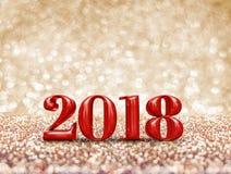 Lyckligt nytt år 2018 tolkning för nummer 3d för år röd på sparklinen Royaltyfri Bild