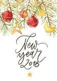 Lyckligt nytt år 2018 - uttryck Feriebokstäverillustration Illustration i vattenfärgstil av klockor och pilbåge och xmas Royaltyfria Foton
