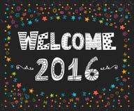 lyckligt nytt år Välkomnande 2016 Gulligt hälsningkort med färgrikt Arkivbild