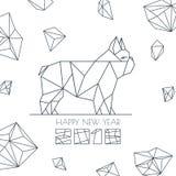 Lyckligt nytt år 2018 Vektorhälsningkort, affisch, baner med modernt symbol för geometrisk översiktshund stock illustrationer