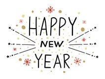 lyckligt nytt år Vektorillustration med bokstäversammansättning Etikett för lyckligt nytt år Affisch för hälsningkort med Fotografering för Bildbyråer
