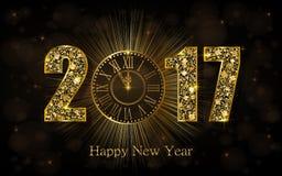 Lyckligt nytt år 2017 Vektorillustration med den guld- klockan royaltyfri illustrationer