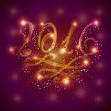Lyckligt nytt år 2016 vid ljus Royaltyfri Bild