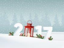 Lyckligt nytt år 2017 Vitt vinterlandskap med skogen, nummer, fallande snö Julgarnering med granfilialer royaltyfri illustrationer
