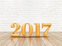 Lyckligt nytt år 2017 & x28; 3d rendering& x29; guld- färgnummer på wood plommoner Arkivfoto