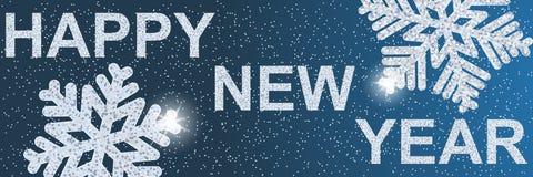 Lyckligt nytt år 2019 xmas Text och snöflingor med försilvrar paljetter royaltyfri illustrationer
