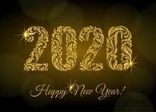 Lyckligt nytt ?r 2020 Diagramen från en blom- prydnad med guld- blänker och gnistor på en mörk bakgrund med bokeh vektor illustrationer