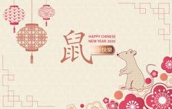 Lyckligt nytt ?r 2020 Ett horisontalbaner med kinesiska best?ndsdelar av det nya ?ret stock illustrationer