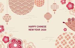 Lyckligt nytt ?r 2020 Ett horisontalbaner med kinesiska best?ndsdelar av det nya ?ret vektor illustrationer