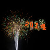 Lyckligt nytt år 2014 för fyrverkerier Arkivbilder