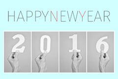 Lyckligt nytt år 2016 för text Royaltyfri Fotografi