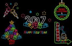 Lyckligt nytt år och neontecken för glad jul Royaltyfri Bild